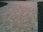 Block Paved Driveway with Concrete Edging and Planting Areas