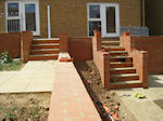 Hard Landscaping, new bricked retaining walls and steps
