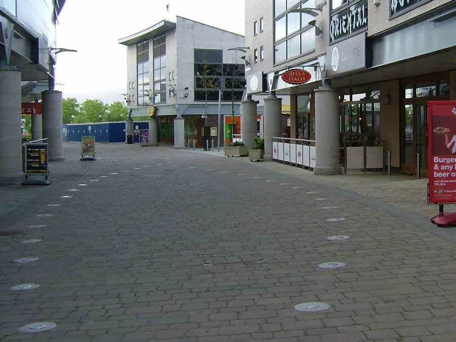 block paving lighting. block paved pedestrian walkway with inset lighting and cobbled paving