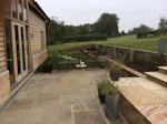 Abbotsley, Cambridgeshire: Patio Extension with inset steps laid in new turf
