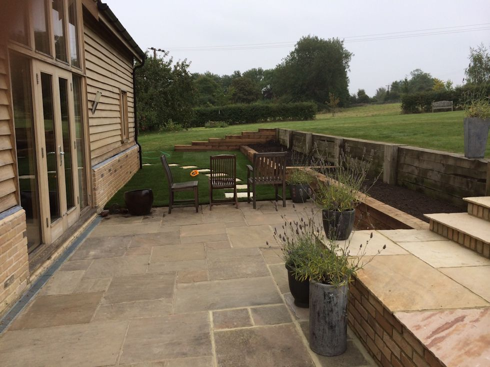 ... Cambridgeshire: Patio Extension With Inset Steps Laid In New Turf ...