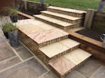 Abbotsley, Cambridgeshire: Patio Steps with Sleeper retaining walls and planting beds